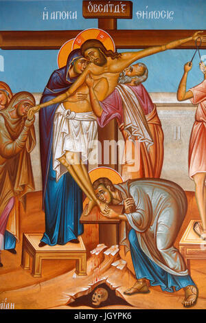 Fresco in Holy cross church, Pedoulas. Lament around Jesus Christ on the cross. Cyprus. - Stock Photo