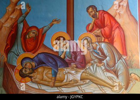 Fresco in Holy cross church, Pedoulas. Jesus Christ's entombment. Cyprus. - Stock Photo