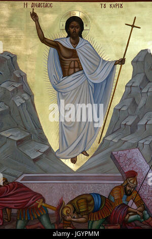 Church of Archangel St Michael Trypiotis. Resurrection icon. Nicosia. Cyprus. - Stock Photo