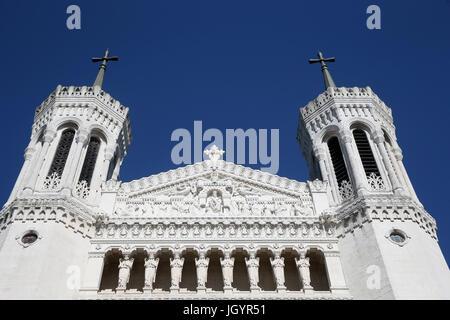 Notre Dame de Fourviere Basilica. Lyon. France. - Stock Photo