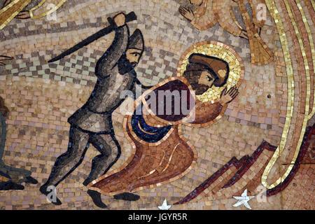 Notre Dame de Fourviere Basilica. St James's life and legend.  Lyon. France. - Stock Photo