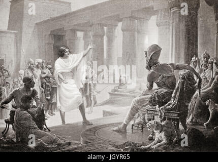 Joseph interpreting the Pharaohs' dreams.  Joseph, sold into slavery by his jealous brothers, he rose to become - Stock Photo