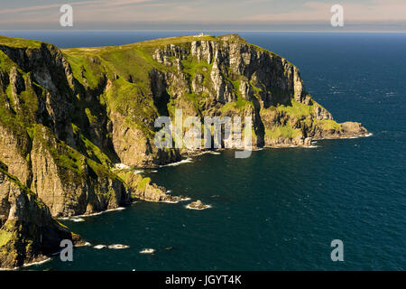 Mid-Summer sunshine over Horn Head on the causeway coastline of Donegal Ireland - Stock Photo