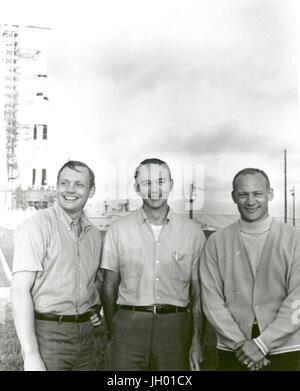 NASA's Apollo 11 flight crew, Neil A. Armstrong, commander; Michael Collins, command module pilot; and Buzz Aldrin, - Stock Photo