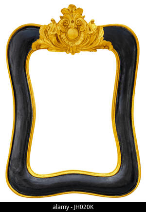 Black golden vintage picture frame isolated on white background with clipping path - Stock Photo