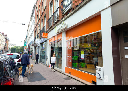 Carrefour Bio grocery shop front in Lille, France - Stock Photo