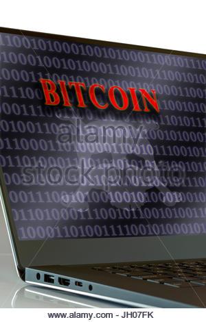 Bitcoin shown on laptop screen, England, UK - Stock Photo