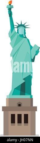 Statue of liberty in flat style. Isolated on white background Vector illustration - Stock Photo