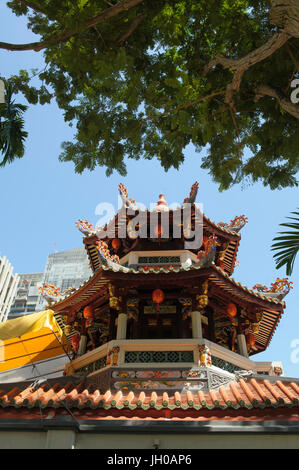 Three storey pagoda, part of the Singapore Yu Huang Gong, or Temple of the Heavenly Jade Emperor. Telok Ayer Street, - Stock Photo