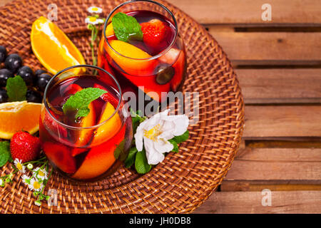 Red Wine Sangria Summer Drinks - Stock Photo