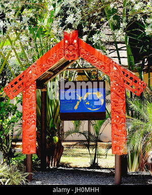 Honolulu, Hawaii - May 27, 2016:Entrance to the New Zealand (Aotearoa) Village at the Polynesian Cultural Center - Stock Photo