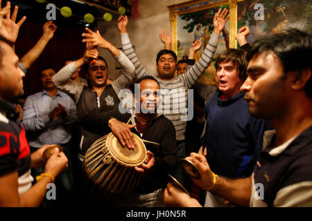 ISKCON devotees celebrating Diwali festival. France. - Stock Photo