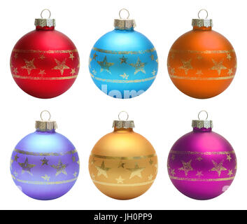 Set christmas balls isolated over white clipping path - Stock Photo
