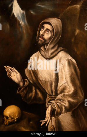 St Francis of Assisi by Domenico Theotokopoulos called El Greco. France. - Stock Photo