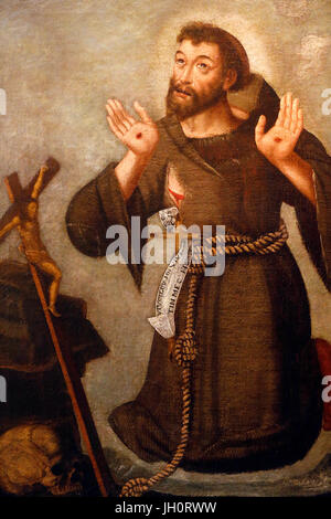 St Francis of Assisi painting, Joseph Arakel collection. France. - Stock Photo
