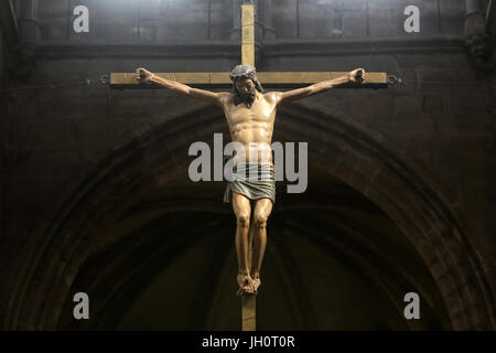 Christ on the cross. Church of Our Lady. XIII th century. Cluny. France. - Stock Photo