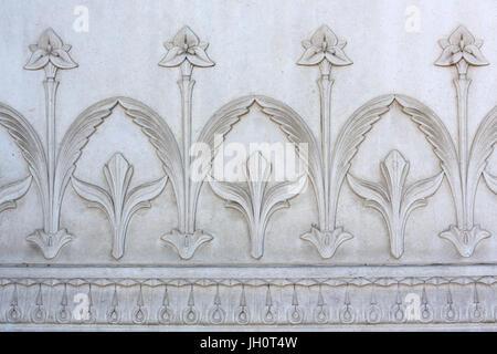 Reliefs. Basilica of Notre-Dame de Fourvire. Lyon. - Stock Photo