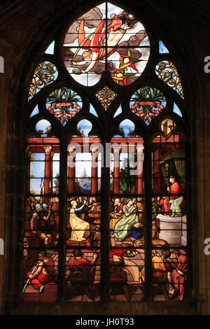 Stained glass. Saint-Nizier Church. Lyon. France. - Stock Photo