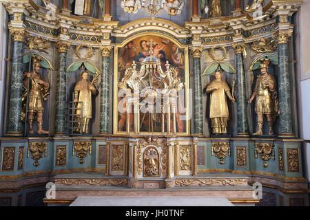 Restoration of Saint Gervais baroque church. The altarpiece.  France. - Stock Photo
