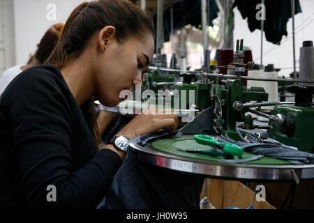 Textile factory run by the catholic church in Battambang, Cambodia - Stock Photo