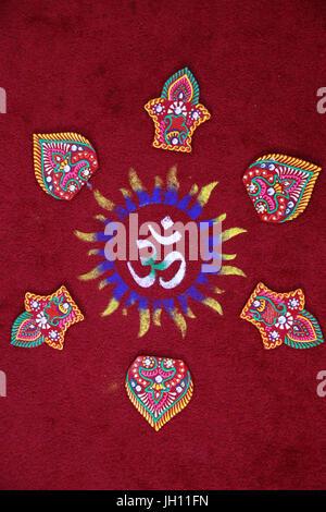 Diwali rangoli in Shirdi Sai Baba temple, Leicester. United kingdom. - Stock Photo