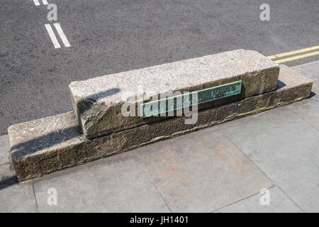 A horse-block on Waterloo Place in central London, erected by the desire of the Duke of Wellington in 1830. - Stock Photo