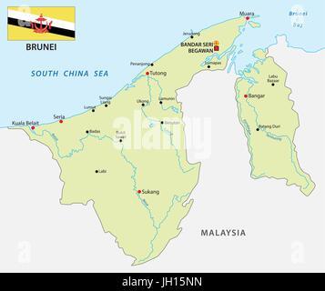 Vector Map Of Brunei And Capital City Bandar Seri Begawan Stock - Brunei map