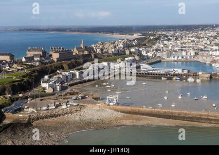 AERIAL VIEW,TOWN OF GRANVILLE,(50) MANCHE,LOWER NORMANDY,FRANCE - Stock Photo