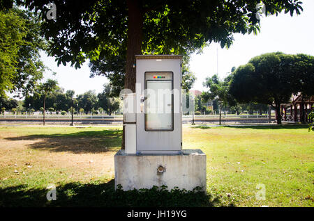 Electricity switchboard and control panel in box at outdoor - Stock Photo