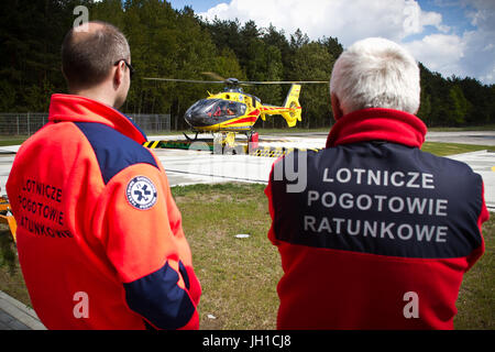 Polish Helicopter Emergency Medical Service (HEMS) Eurocopter 135 at Polsih HEMS base in Gdansk, Poland. - Stock Photo