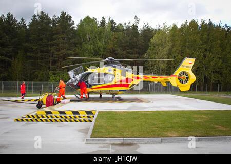 Polish Helicopter Emergency Medical Service (HEMS) Eurocopter 135 at Polsih HEMS base in Gdansk, Poland. - Stock Photo