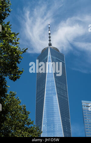 One World Trade Center in Lower Manhattan, NYC, USA - Stock Photo