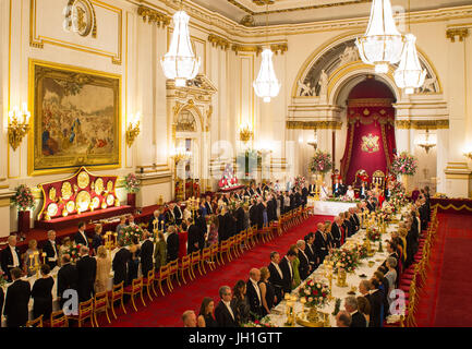 The Ballroom At Buckingham Palace In London England Set Up