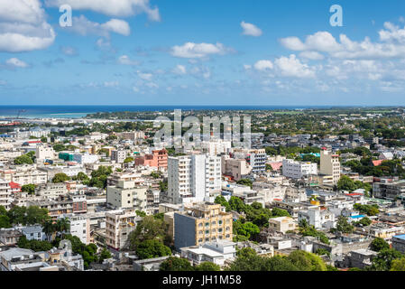 Port Louis Skyline - viewed from the fort Adelaide along the Indian Ocean in Mauritius capital city - Stock Photo