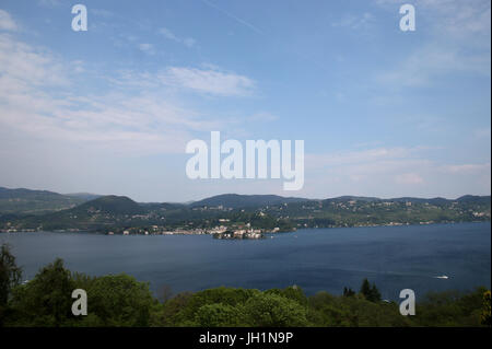 San Giulio island on Lake Orta. Italy. - Stock Photo