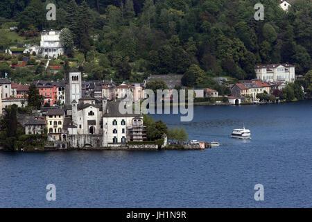 Lake Orta. Island of Saint Giulino.  Italy. - Stock Photo