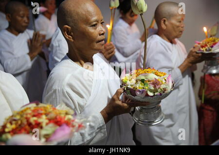 Ceremony in a Khmer buddhist temple. Cambodia. - Stock Photo