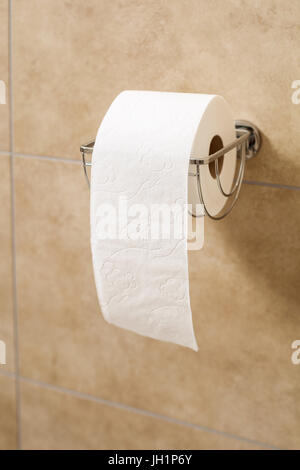 Toilet paper roll in holder - Stock Photo