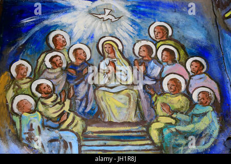 Lome Sacred Heart Cathedral. The Holy Spirit descending on the Virgin Mary and the Apostles. Painting.  Lome. Togo. - Stock Photo