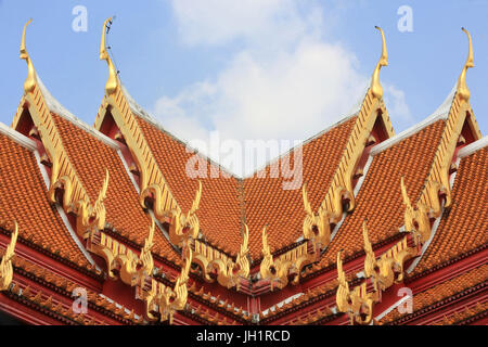 Gold carving and ornate patterns over the entrance. Marble Temple. Wat  Benchamabophit Dusitvanaram Ratchaworawiharn. - Stock Photo