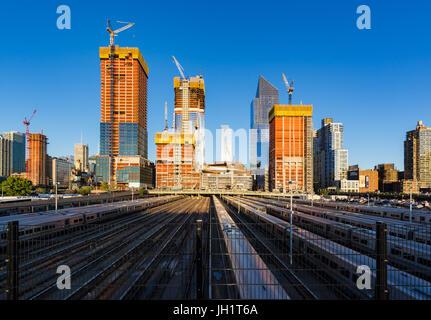 The Hudson Yards construction site with railway tracks (2017). Midtown, Manhattan, New York City - Stock Photo