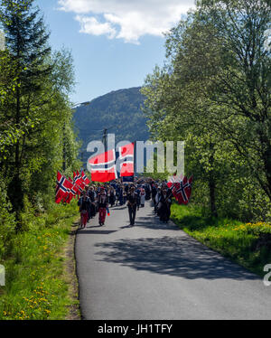 Marching for constitution, Norway celebrate Norwegian Constitution Day, May 17th - Stock Photo
