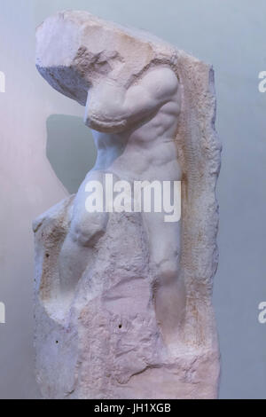 Marble Sculpture of Atlas, by Michelangelo,    Accademia Gallery, Florence, Tuscany, Italy, Europe - Stock Photo