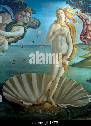 Detail of Birth of Venus, by Sandro Botticelli, circa 1485, Uffizi Gallery, Florence, Tuscany, Italy, Europe - Stock Photo