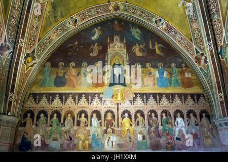 Allegory of Church Militant and Triumphant, Triumph of St. Thomas Aquinas, Frescoes by Andrea di Bonaiuto, 1365 - Stock Photo