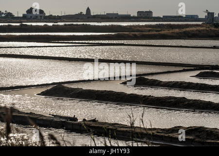 Sunlight reflecting on saltpans at the wildlife  Reserve near Nubia, south of  Trapani, on the west coast of Sicily, - Stock Photo