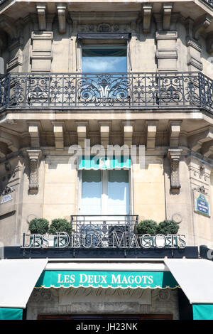 Les Deux Magots. Brasserie in Paris.  France. - Stock Photo