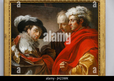 Louvre museum. Three men. Franois-AndrŽ Vincent. Oil on canvas, 1775. France. - Stock Photo