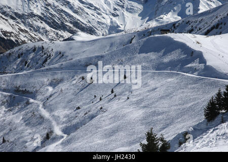 French Alps.  Mont-Blanc massif. Ski slope. France. - Stock Photo