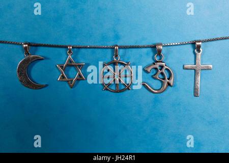 Symbols of islam, judaism, buddhism, hinduism and christianity. - Stock Photo